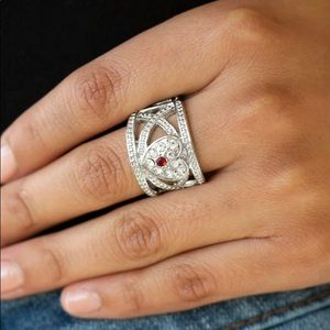 Glistening Red Heart Stretch Ring NWT